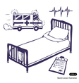 Hospital bed and ambulance vector image