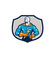 Plumber Superhero Monkey Wrench Crest Retro vector image