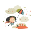 Girl flying with umbrella vector image