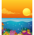 Scene with coral reef under the ocean vector image
