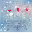 Christmas sketch of the Parisian cafe vector image