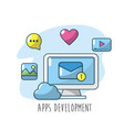 technology computer with apps connection element vector image