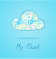 Cloud made from color hands on blue background vector image