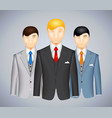 Trio of businessmen in suits vector image