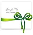Greeting card with a green ribbon vector image vector image
