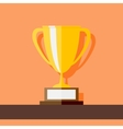 Winner Cup standing at shelf Flat style vector image vector image