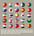 asia round button flags one vector image