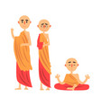 three buddhist monks in orange clothes and in vector image