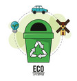 eco lifestyle recycle trash can energy transport vector image