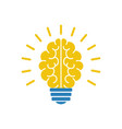 light bulb brain icon vector image