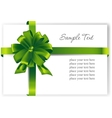 Greeting card with a green ribbon vector image