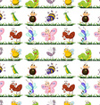 Seamless different type of insects vector image