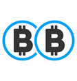 double bitcoin flat icon vector image