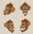 monkey head set and vector image