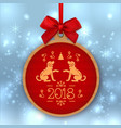 year of the dog 2018 round banner with red ribbon vector image