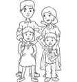 Happy family with two children line art cartoon vector image