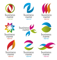 collection of abstract colored logos vector image vector image