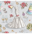 Seamless texture with the image of wedding dresses vector image
