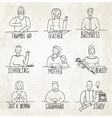 Monochrome Hand Drawn People Business and vector image
