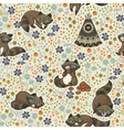seamless pattern with raccoons in cartoon vector image vector image