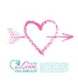 Handwritten lipstick heart and arrow vector image