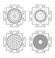 monocrome outline hindu yantra set vector image