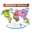 animals in different parts of the world on map vector image