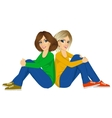 attractive women sitting back to back vector image