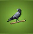 black raven bird in low polygon art vector image