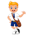 Cute boy in uniform waving hand vector image