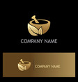 gold mortar traditional organic logo vector image