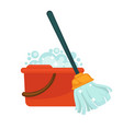 plastic bucket with handle full of soap and modern vector image