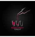 cocktail shot glass bottle design background vector image