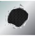 hexagon metallic background under hole vector image