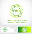 Bio leafs circle logo vector image