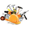 Construction Tools with Helmet vector image vector image