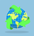 Recycling arrow symbol and planet Earth vector image