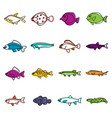 cute fish icons doodle set vector image
