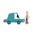 doctor checking car character with stethoscope vector image