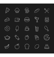 Food and drinks linear icons set Blackboard vector image