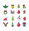 set merry christmas celebration to holiday vector image
