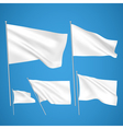 White flags on blue background vector image