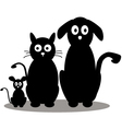 cat dog and mouse cartoon silhouette vector image vector image