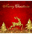 Christmas red background with golden deer vector image