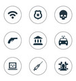 set of simple fault icons vector image