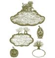 Woodcut Halloween Ornaments vector image