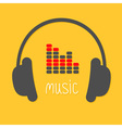 Headphones equalizer and white word Music Icon in vector image