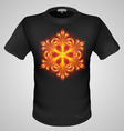 t shirts Black Fire Print man 12 vector image