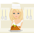 Beautiful lady cooking chicken or turkey in the vector image