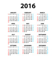Calendar for 2016 on White Background Week Starts vector image